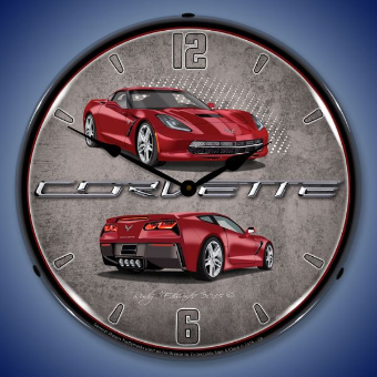 C7 CORVETTE  CRYSTAL RED BACKLIT LIGHTED CLOCK