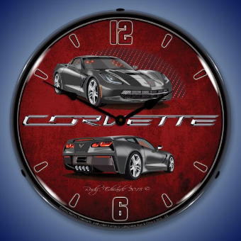C7 CORVETTE  CYBER GREY  BACKLIT LIGHTED CLOCK