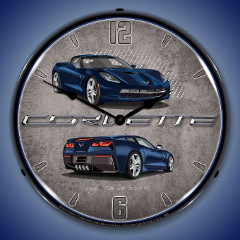 C7 CORVETTE  NIGHT RACE  BLUE  BACKLIT LIGHTED CLOCK