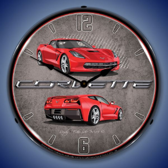 C7 CORVETTE  TORCH RED  BACKLIT LIGHTED CLOCK