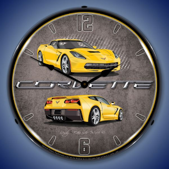 C7 CORVETTE  VELOCITY YELLOW  BACKLIT LIGHTED CLOCK