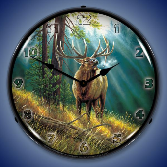 CALLING ALL CHALLENGERS ELK  BACKLIT LIGHTED CLOCK