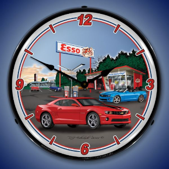 CAMARO ESSO STATION  BACKLIT LIGHTED CLOCK