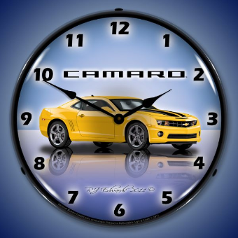CAMARO G5 RALLY YELLOW  BACKLIT LIGHTED CLOCK