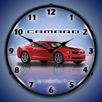 CAMARO G5 RED JEWEL  BACKLIT LIGHTED CLOCK