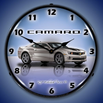 CAMARO G5 SILVER ICE  BACKLIT LIGHTED CLOCK