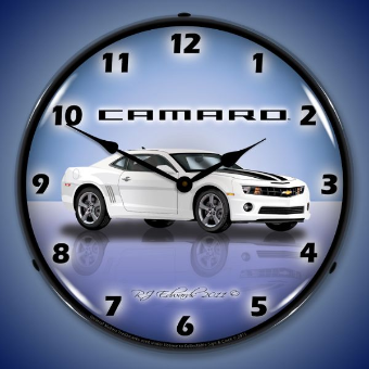 CAMARO G5 SUMMIT WHITE  BACKLIT LIGHTED CLOCK