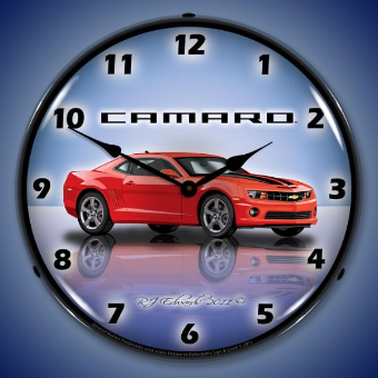 CAMARO G5 VICTORY RED  BACKLIT LIGHTED CLOCK