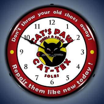 CAT'S PAW CAT-TEX HEELS AND SOLES BACKLIT LIGHTED CLOCK