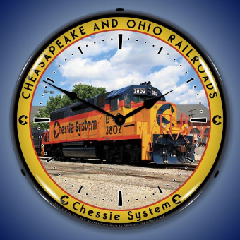 CHESSIE RAILROAD  3802  BACKLIT LIGHTED CLOCK