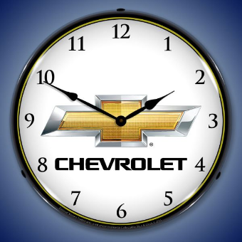 CHEVROLET BOWTIE  BACKLIT LIGHTED CLOCK