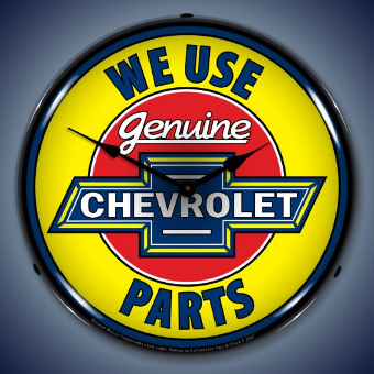 CHEVROLET GENUINE PARTS BACKLIT LIGHTED CLOCK
