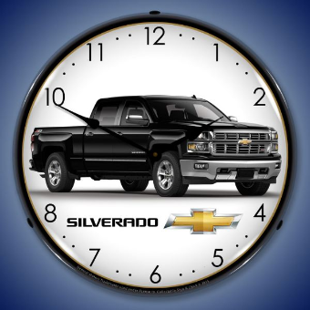 CHEVROLET SILVERADO BLACK  BACKLIT LIGHTED CLOCK
