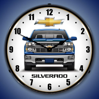 CHEVROLET SILVERADO BLUE  BACKLIT LIGHTED CLOCK