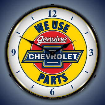 CHEVROLET BACKLIT LIGHTED CLOCK WITH NUMBERS