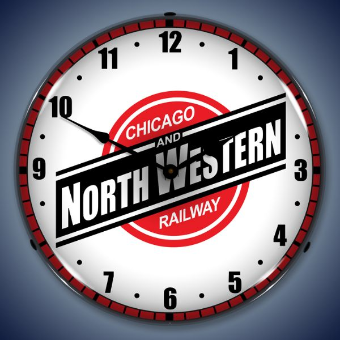 CHICAGO NORTH WESTERN RAILROAD  BACKLIT LIGHTED CLOCK