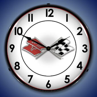 CORVETTE FLAGS  BACKLIT LIGHTED CLOCK