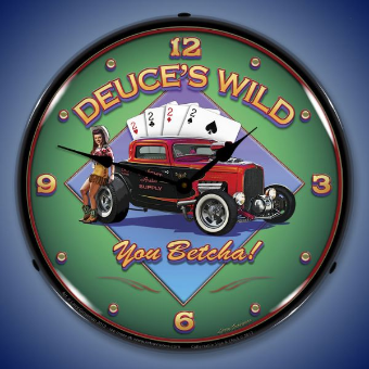 DEUCE'S WILD  BACKLIT LIGHTED CLOCK
