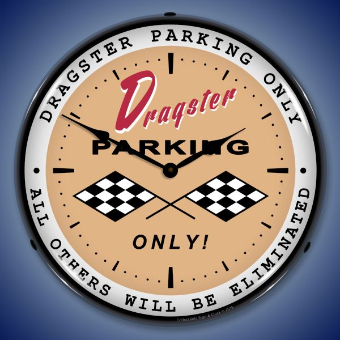 DRAGSTER PARKING BACKLIT LIGHTED CLOCK
