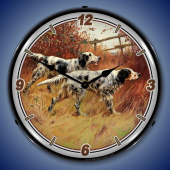 ENGLISH SETTERS  BACKLIT LIGHTED CLOCK