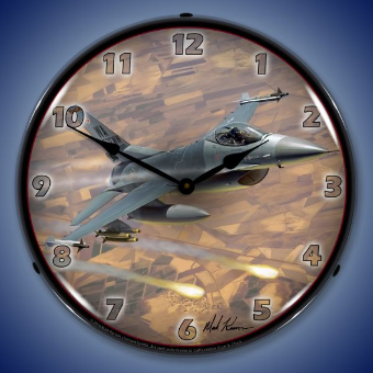F-16 FALCON  BACKLIT LIGHTED CLOCK