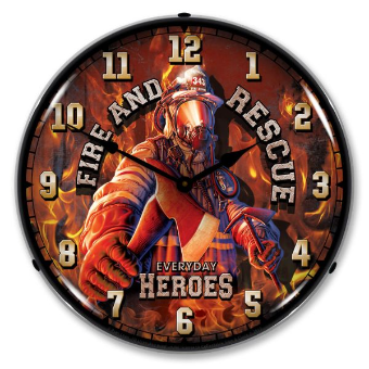 FIRE AND RESCUE  BACKLIT LIGHTED CLOCK