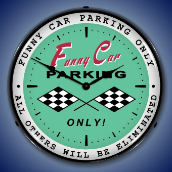 FUNNY CAR  PARKING BACKLIT LIGHTED CLOCK