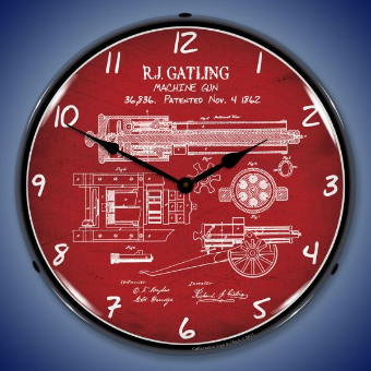 GATLIN GUN PATENT  BACKLIT LIGHTED CLOCK