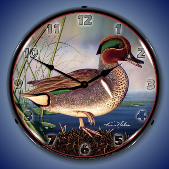 GREEN WING TEAL DUCK  BACKLIT LIGHTED CLOCK