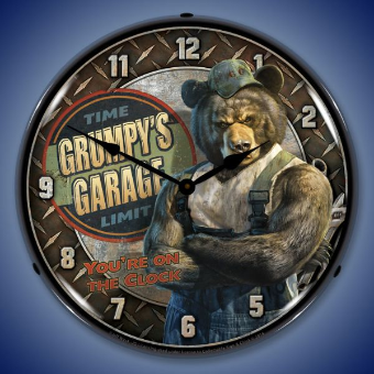 GRUMPY'S GARAGE  BACKLIT LIGHTED CLOCK