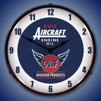 GULF AIRCRAFT ENGINE OIL  BACKLIT LIGHTED CLOCK