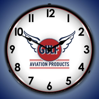 GULF AVIATION  BACKLIT LIGHTED CLOCK