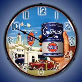 GULFPRIDE MOTOR OIL  BACKLIT LIGHTED CLOCK