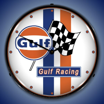 GULF RACING  BACKLIT LIGHTED CLOCK