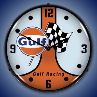 GULF RACING  GT40 BACKLIT LIGHTED CLOCK