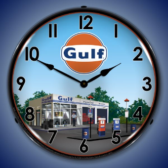 GULF STATION  BACKLIT LIGHTED CLOCK