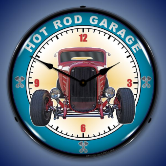 HOT ROD GARAGE  BACKLIT LIGHTED CLOCK