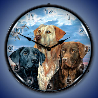 LABRADOR RETRIEVER  BACKLIT LIGHTED CLOCK