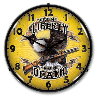 LIBERTY OR DEATH  BACKLIT LIGHTED CLOCK