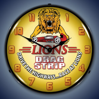 LIONS DRAG STRIP BACKLIT LIGHTED CLOCK