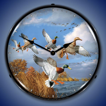 MALLARDS  BACKLIT LIGHTED CLOCK