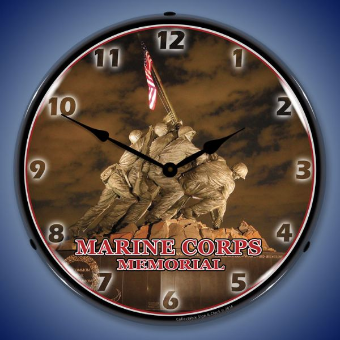 MARINE CORPS MEMORIAL IWO JIMA  BACKLIT LIGHTED CLOCK
