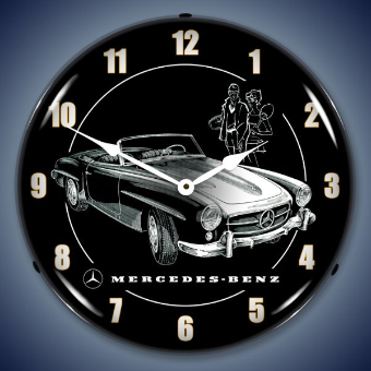 MERCEDES BACKLIT LIGHTED CLOCK
