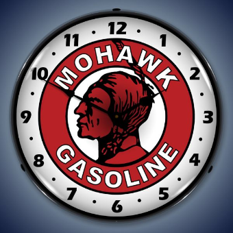 MOHAWK GASOLINE  BACKLIT LIGHTED CLOCK