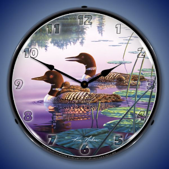 NORTHERN SPLENDOR LOONS  BACKLIT LIGHTED CLOCK