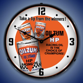OILZUM HP OIL  BACKLIT LIGHTED CLOCK