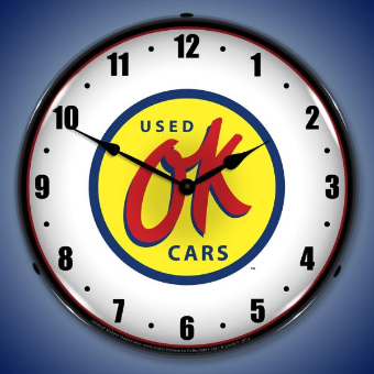 OK USED CARS  BACKLIT LIGHTED CLOCK