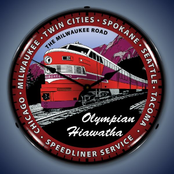 OLYMPIAN HIAWATHA TRAIN BACKLIT LIGHTED CLOCK