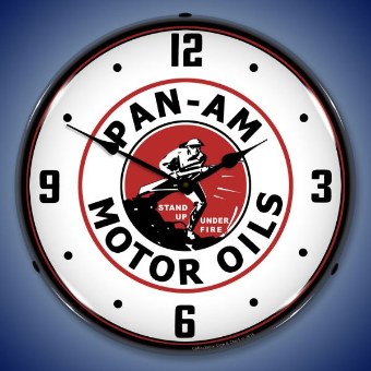 PAN AM MOTOR OILS  BACKLIT LIGHTED CLOCK