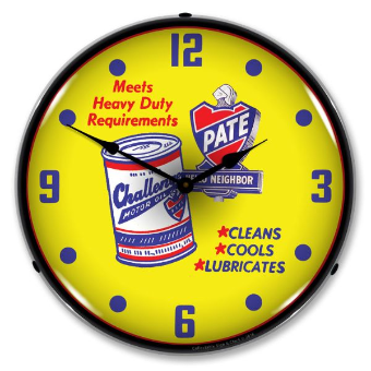 PATE MOTOR OIL  BACKLIT LIGHTED CLOCK